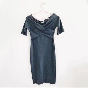 NWT Zara Bardot Black Bodycon Dress